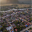 Aerial view of Vang Vieng, Laos, Balloon over Vang Vieng